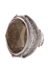 Stephen Dweck Oval Smoky Quartz Cocktail Ring Silver Size 7