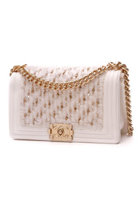 Chanel Tweed Medium Boy Bag White