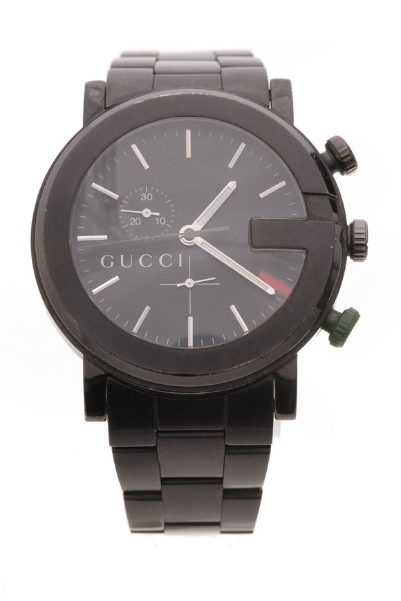Gucci 44mm G-Chrono Watch Black Steel