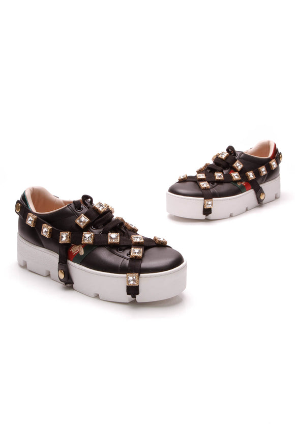 Gucci Platform Detachable Jewel Sneakers Black Size 39