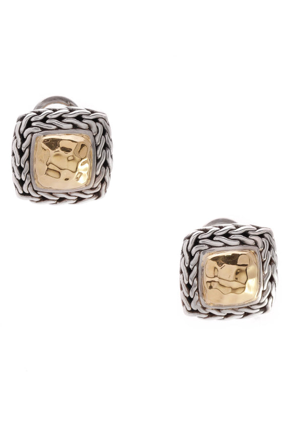 John Hardy Palu Square Earrings Gold Silver