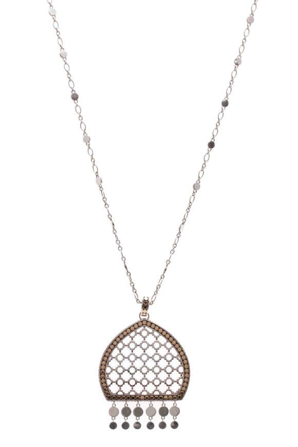 John Hardy Dot Dome Pendant Necklace Silver Gold