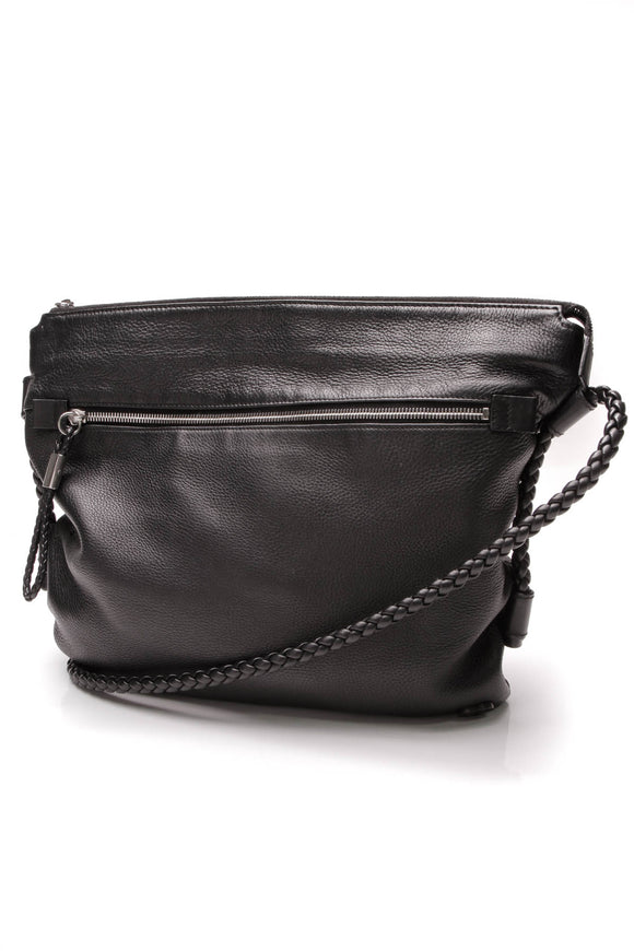 Gucci Braided Crossbody Bag Pebbled Leather Black
