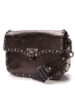 Valentino Guitar Strap Crossbody Bag Black Leather