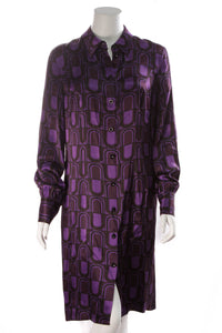 Escada Retro Print Silk Dress Purple Size 40