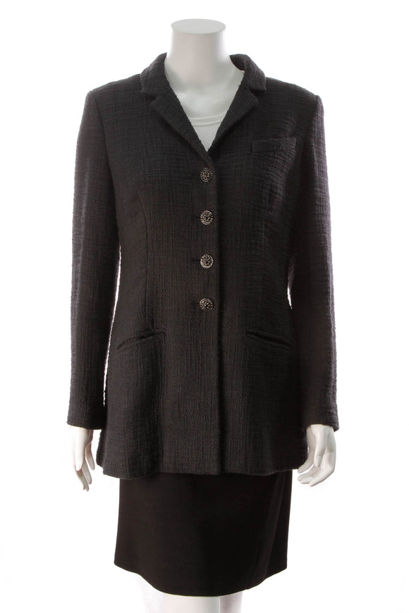 Chanel Tweed Long Jacket Black Size 42