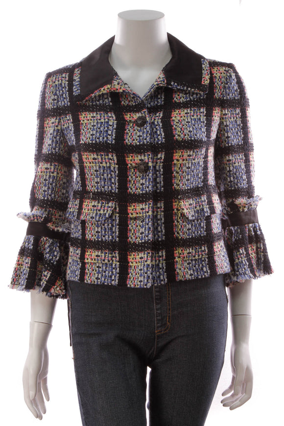 Chanel Tweed Bow Jacket Multicolor Size 40