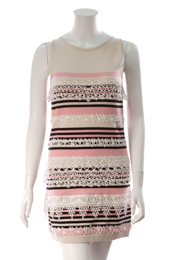 Chanel Striped Sweater Dress Pink Beige Size 38
