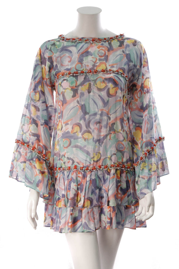 Chanel Watercolor Print Dress Multicolor Size 38