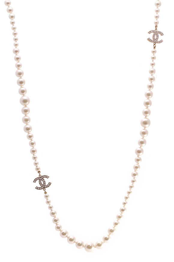 Chanel Graduated Pearl CC Necklace Gold