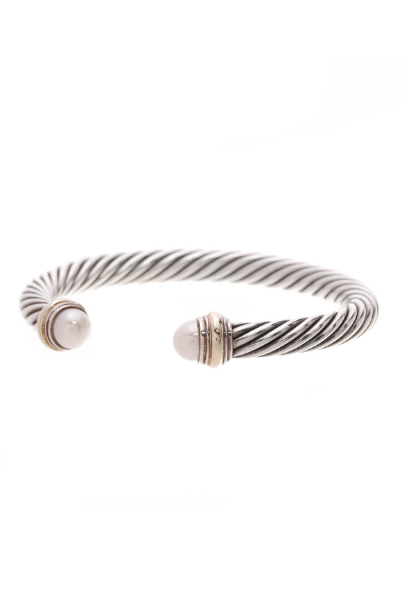 David Yurman 7mm Pearl Cable Classic Bracelet Silver Gold