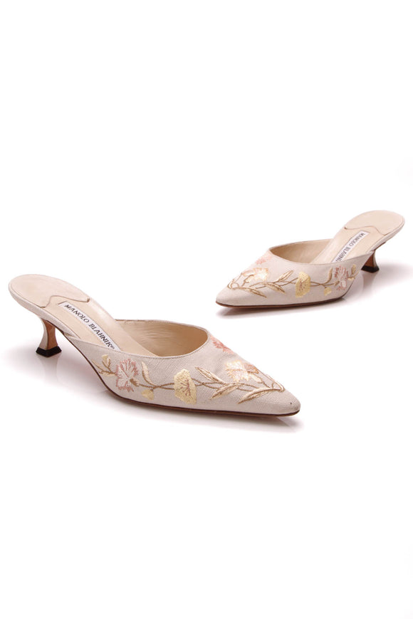 Manolo Blahnik Floral Embroidered Pointed-Toe Mules Tan Size 36