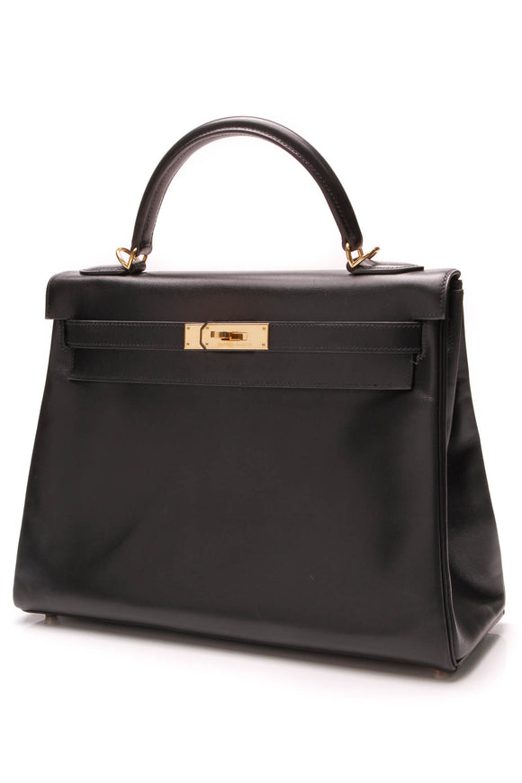 Hermes Kelly Retourne 32 Bag Black Box Leather
