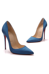877c0167470 Christian Louboutin So Kate Satin Pumps - Blue Size 37 – Couture USA