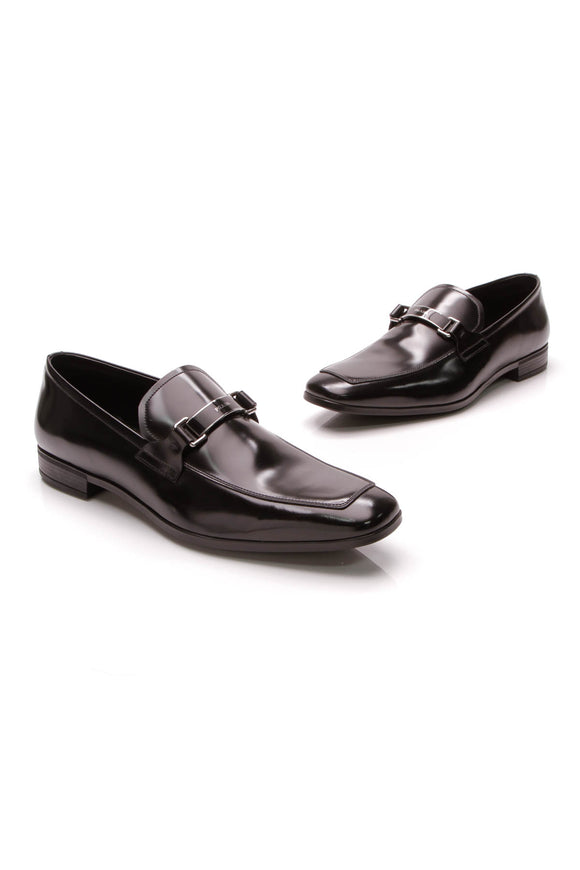 Prada Men's Logo Bit Loafers Black Leather Size 10