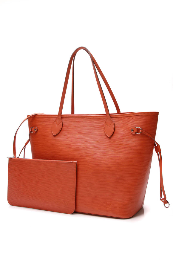 Louis Vuitton Epi Neverfull MM Tote Bag Piment Orange