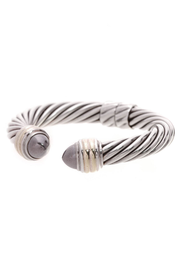 David Yurman 10mm Hematite Cable Hinge Bracelet Silver Gold