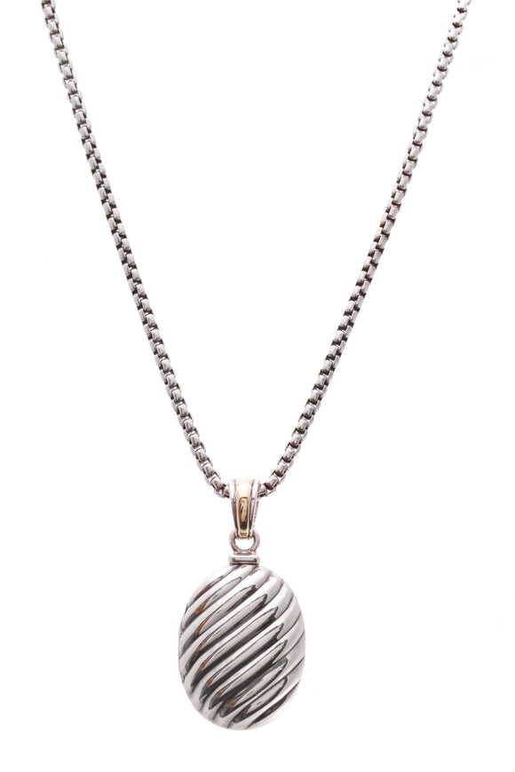 David Yurman Sculpted Cable Locket Pendant Necklace Silver Gold