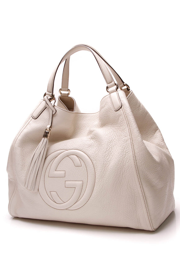 Gucci Soho Tote Bag Ivory Pebbled Leather