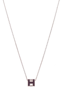 Hermes Caged D'H Pendant Necklace Plum Silver