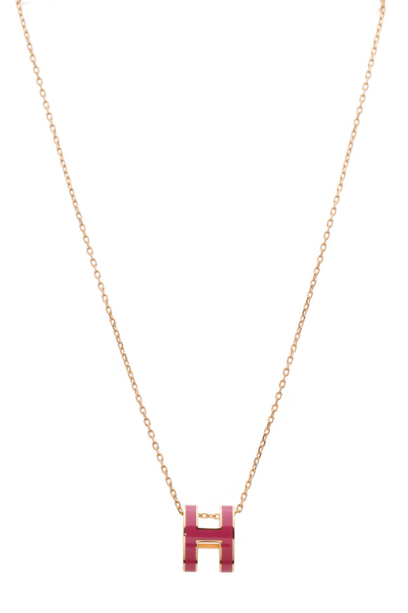 Hermes Pop H Necklace Pink Gold