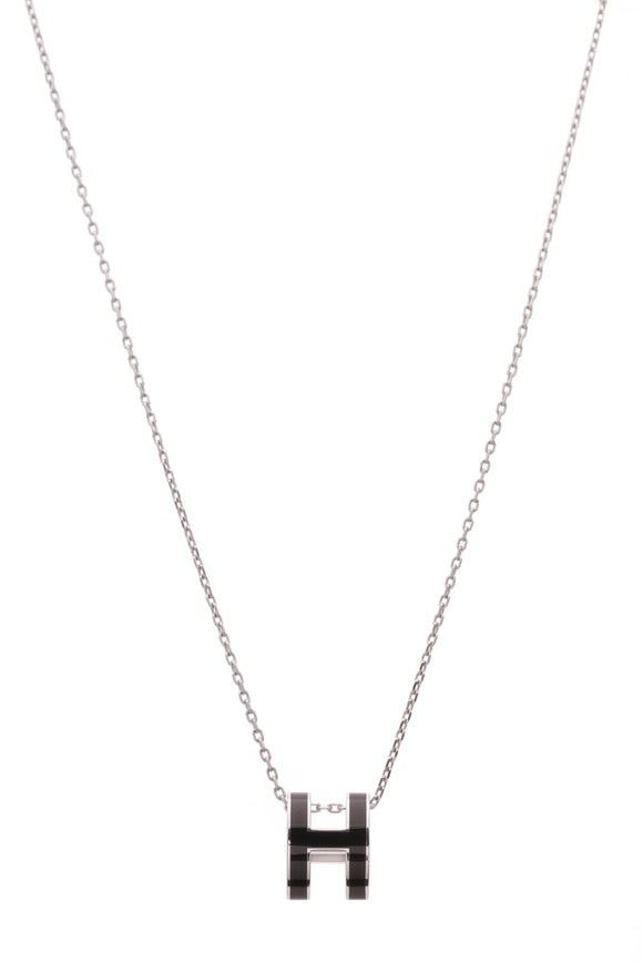 Hermes Pop H Necklace Black Silver
