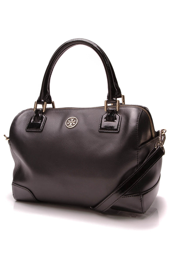 Tory Burch Robinson Bowler Bag Saffiano Leather Black