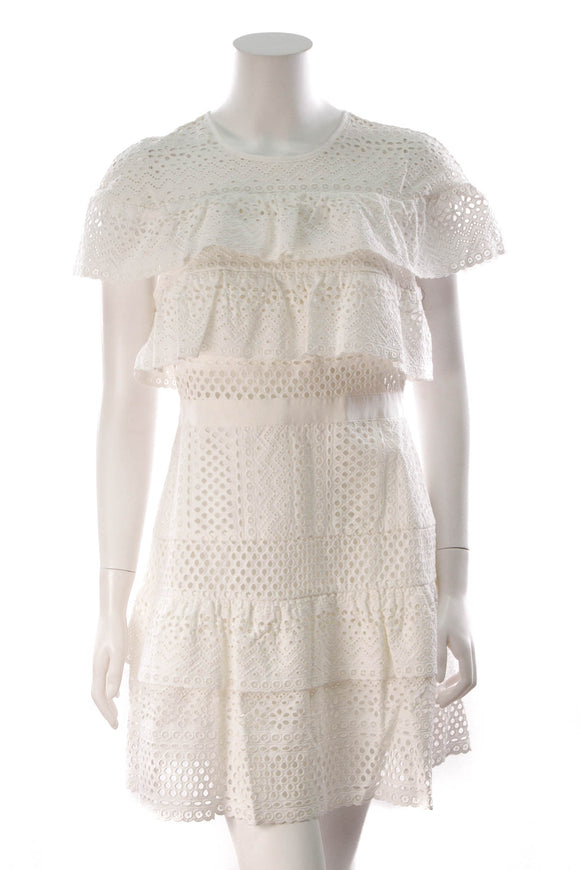 Self-Portrait Floral Broderie Anglaise Mini Dress White Size 10
