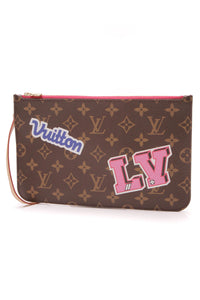 Louis Vuitton Patches Neverfull Pouch Wristlet Monogram Brown