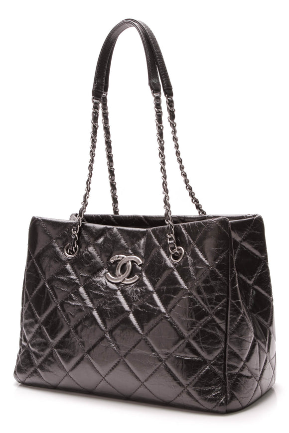 Chanel CC Shopper Tote Bag Black Glazed Calfskin