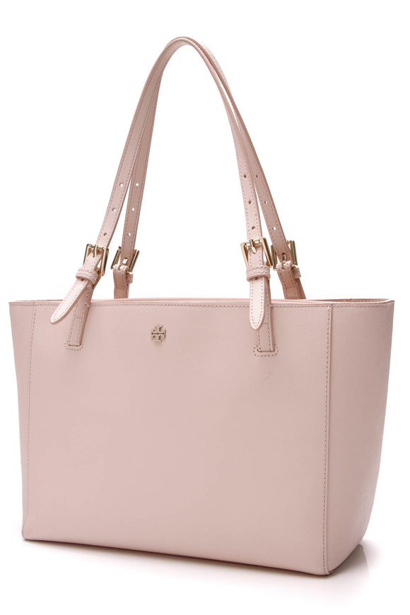 Tory Burch York Small Buckle Tote Bag Light Oak Blush Pink