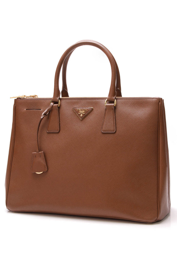 Prada Lux Large Tote Bag Caramel Brown
