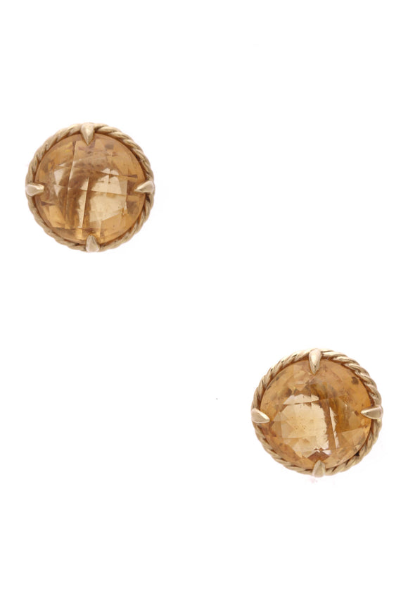 David Yurman Citrine Chatelaine Stud Earrings Yellow Gold