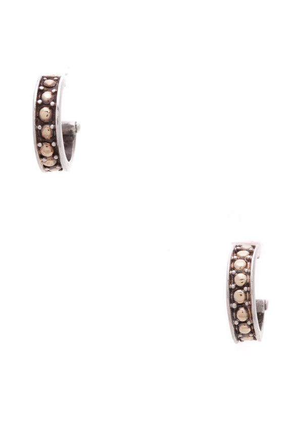 John Hardy Dot Small Hoop Earrings Silver Gold
