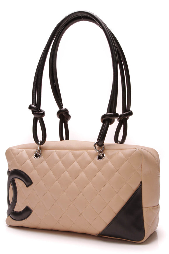 Chanel Cambon Small Bowler Bag Beige Black