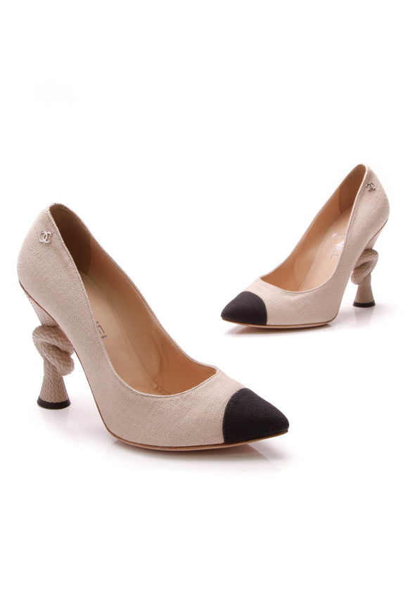 Chanel Knot Pumps Beige Size 39
