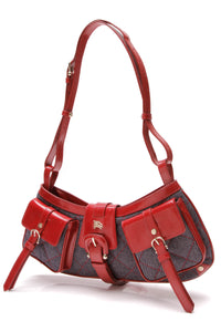 Burberry Cinda Small Denim Bag Blue Red