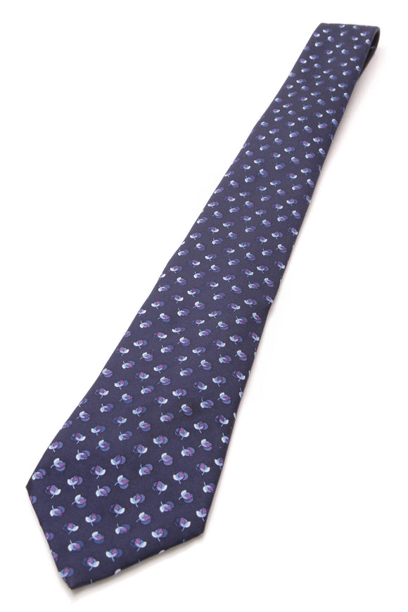Chanel Flower Print Silk Necktie Navy