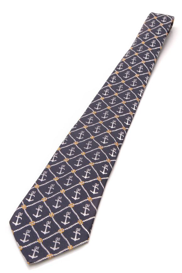Chanel Anchor Print Silk Necktie Navy
