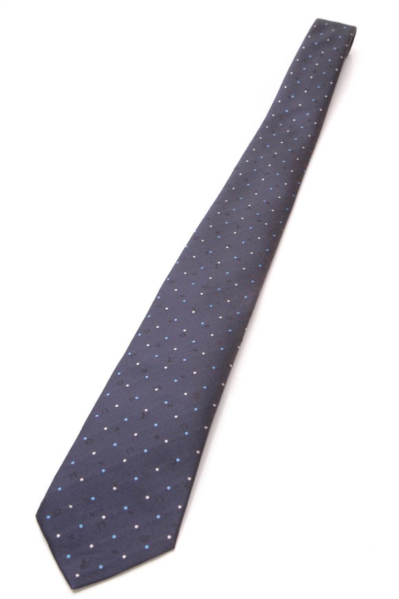 Louis Vuitton Monogram Polka Dot Silk Necktie Navy