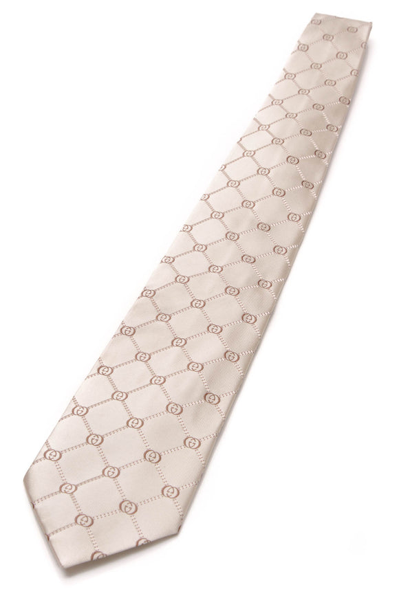 Gucci Interlocking G Silk Necktie Beige