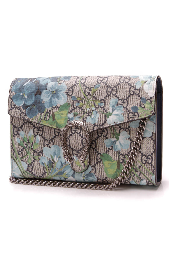 Gucci Blooms Dionysus Wallet on a Chain Bag Supreme Canvas Blue