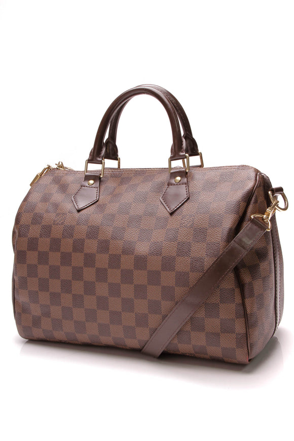 Louis Vuitton Speedy Bandouliere 30 Bag Damier Ebene Brown