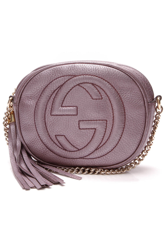 Gucci Soho Chain Crossbody Bag Metallic Purple