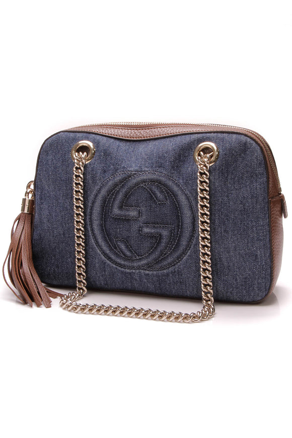 Gucci Denim Soho Chain Shoulder Bag Blue