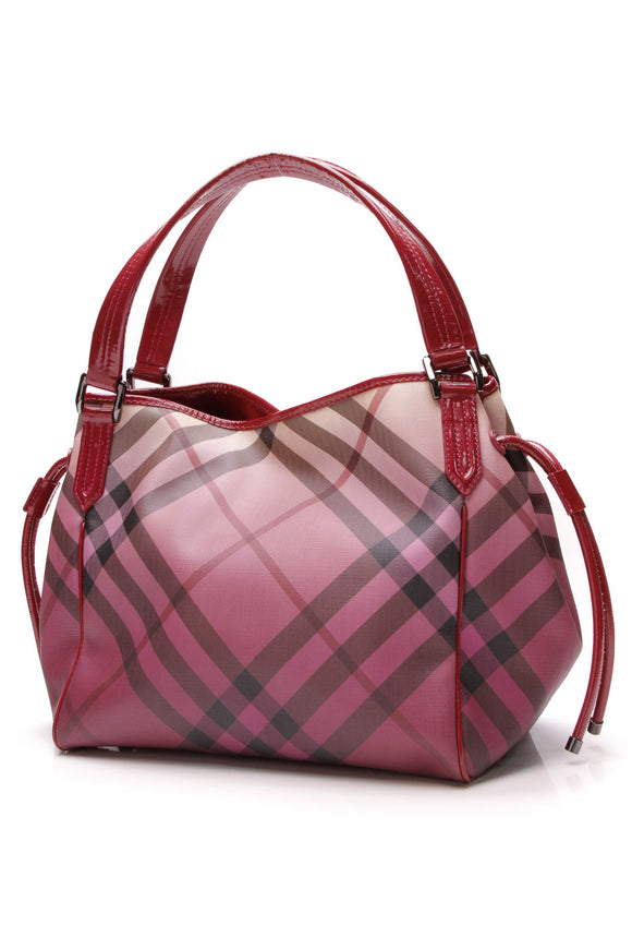 Burberry Bilmore Tote Bag Raspberry Ombre Supernova Check Pink
