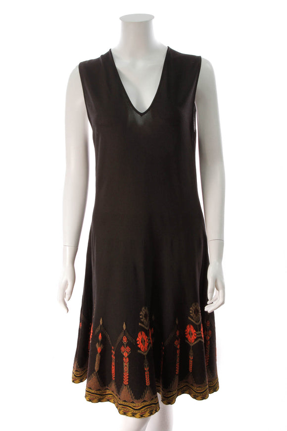 Etro Embroidered Knit Dress Black Size 48