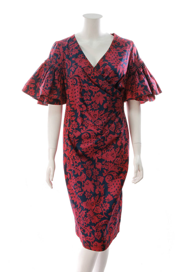 Oscar de la Renta Floral Print Pencil Wrap Dress Red/Navy Size 12