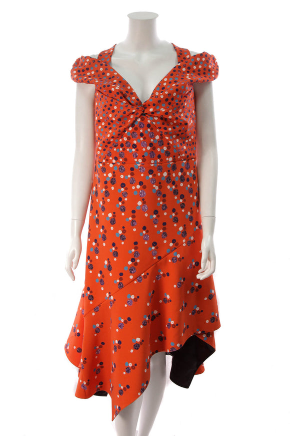 Peter Pilotto Cold Shoulder Polka Dot Midi Dress Red Size 12