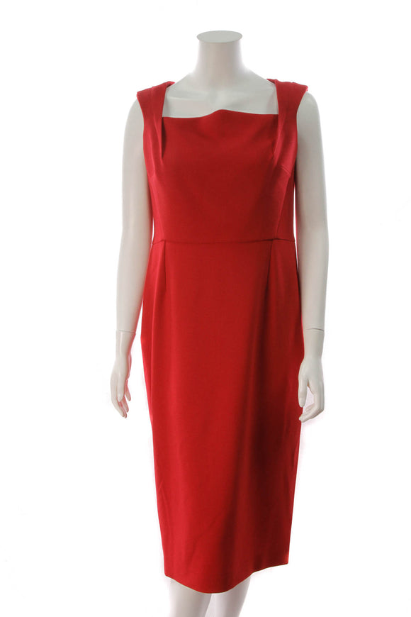 Roland Mouret Maltok Sheath Dress Red Size 14